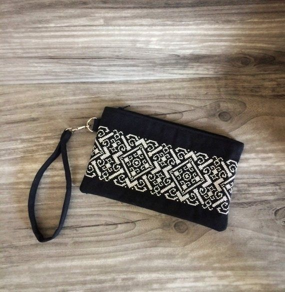 Embroidered Clutch Vyshyvanka Wristlet Geometric Embroidery,Black Satin Beaded Clutch Fold Over Wallet Style Formal Black Tie Evening Bag