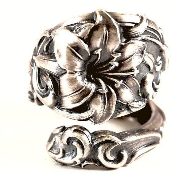 Spoon Ring Vintage Victorian Rose Lancaster Sterling by Spoonier