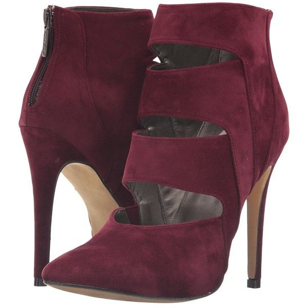 Michael Antonio Lilo - Velvet (Burgundy) Women's Boots (155 BRL) ❤ liked on Polyvore featuring shoes, boots, velvet boots, fleece-lined shoes, burgundy velvet shoes, burgundy boots and zipper shoes