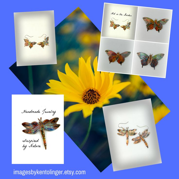 Art In The Garden Series Flame Painted Copper Butterfly and Dragonfly Jewelry