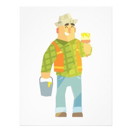 Builder With Paintbrush And Bucket On Construction Letterhead - paper gifts presents gift idea customize
