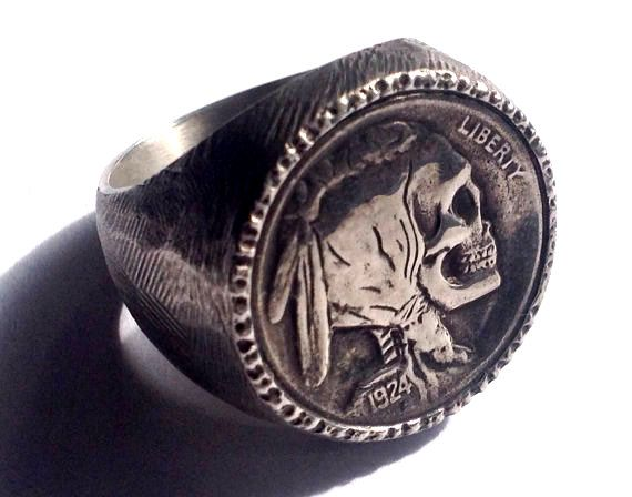 Stunning Mans Ring- Sterling Silver Buffalo / Indian Head Nickel Skeleton Skull Hobo Nickel
