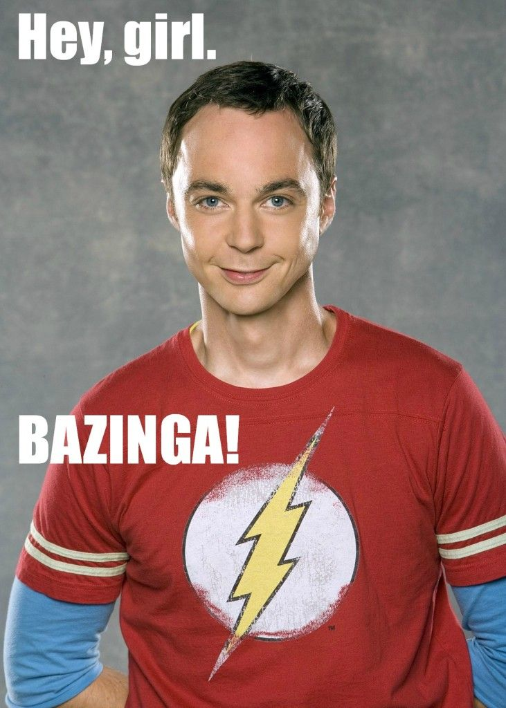 "Sheldon Cooper takes on the Ryan Gosling ""Hey Girl"" meme:  ""Hey Girl --   Bazinga!""  #TBBT #TV"