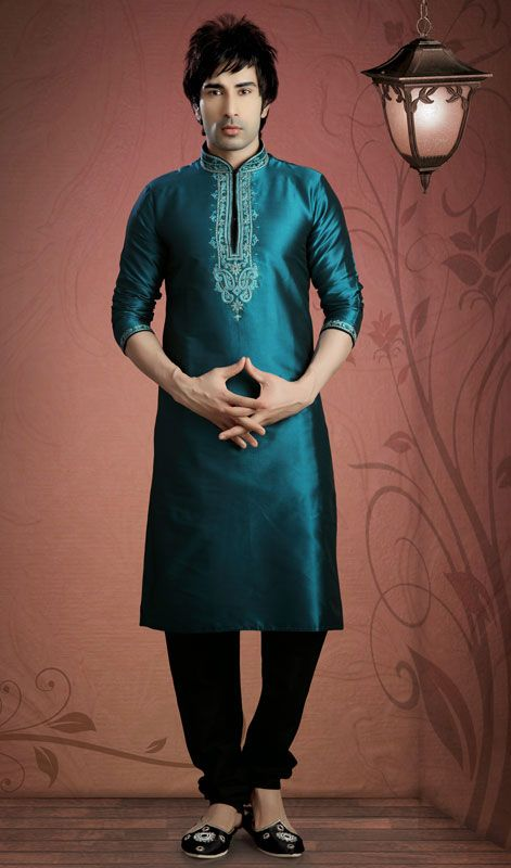Win your spurs wearing this teal blue shade shantoon kurta pyjama. Beautified with patch and resham work. #IndianShervani