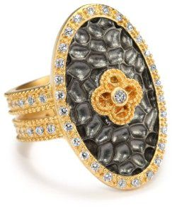 """Freida Rothman Belargo Jewelry """" HAMPTON"""" Large Two Tone Oval Floral Ring, Size 7 Freida Rothman Belargo Jewelry. $158.38"""