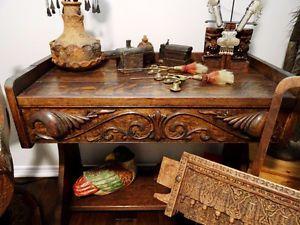 1800s GOTHIC antique desk ¼ SEWN OAK deep carvings PAW FEET larg
