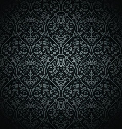 Чёрный фон с классическим орнаментом.