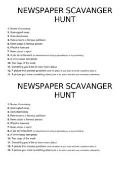 Reading skills such as skimming and scanning are used to locate a selection of items in this fun scavenger hunt. Absolutely any newspaper can be used. A fun activity that kids love!%0D%0A%0D%0ABecky McPhee