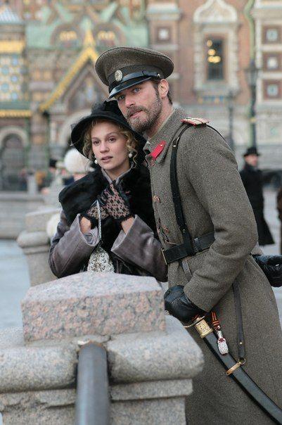 Kivanc Tatlitug as Seyit and Farah Zeynep Abdullah as Sura -their first outing in St. Petersburg, Russia.