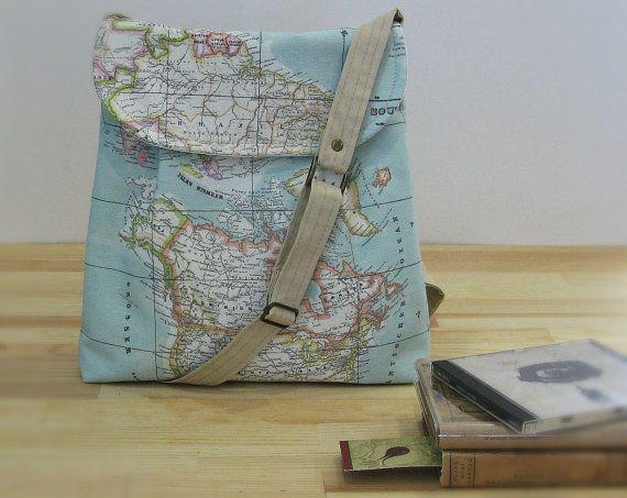 World Map Print Small  Diaper Bag ,Canvas Tote Bag , Small Messenger Bag,  Shoulder Bag ,Everyday Purse