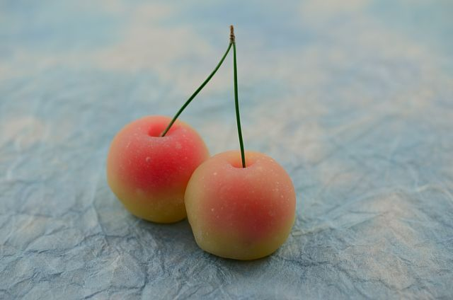 "Japanese Sweets, wagashi,「さくらんぼ」 千本玉壽軒 ""Cherry"""