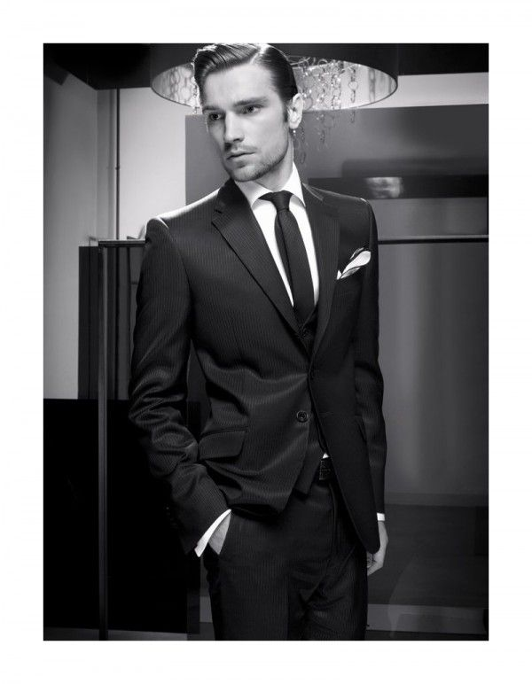 Groom's suit. Sexy black and white picture