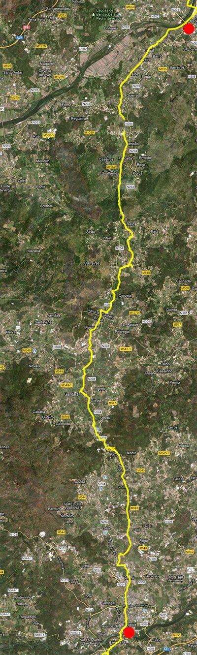 Mapa de Barcelos a Ponte da Lima