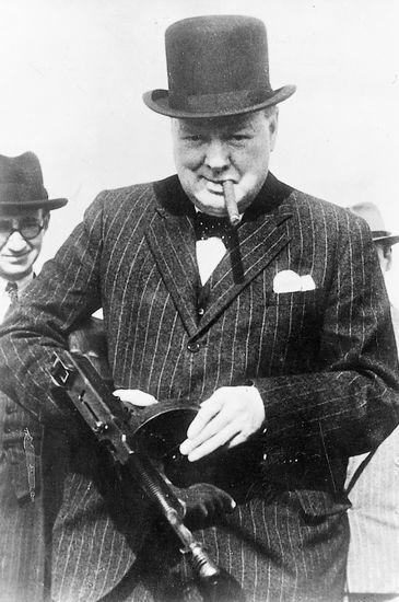 Sir Winston Churchill looking like a true badass                                                                                                                                                                                 Plus