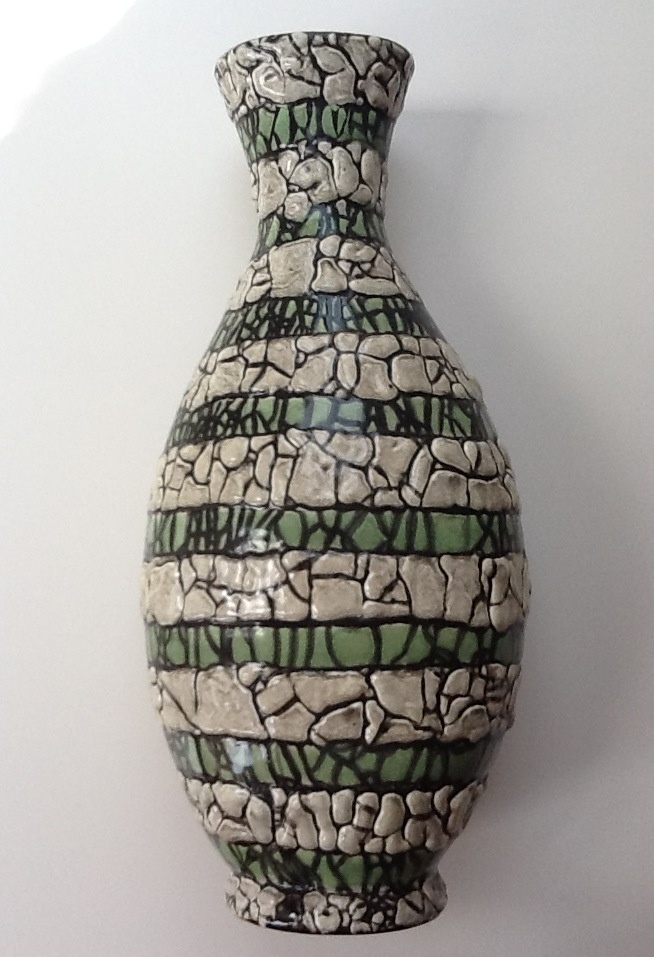 Mid size vase with green and white stripes