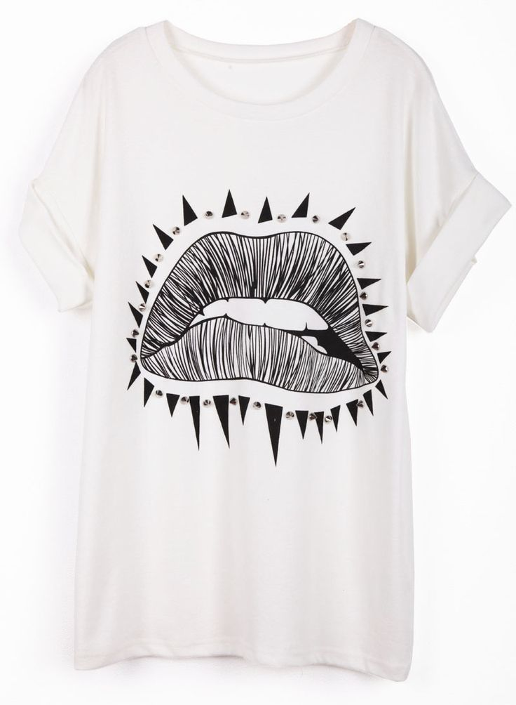 #SheInside White Short Sleeve Lip Print Rivet T-Shirt - Sheinside.com