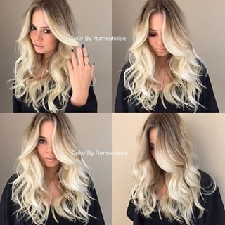 A perfect blonde balayage ombre by Kelly Jelic