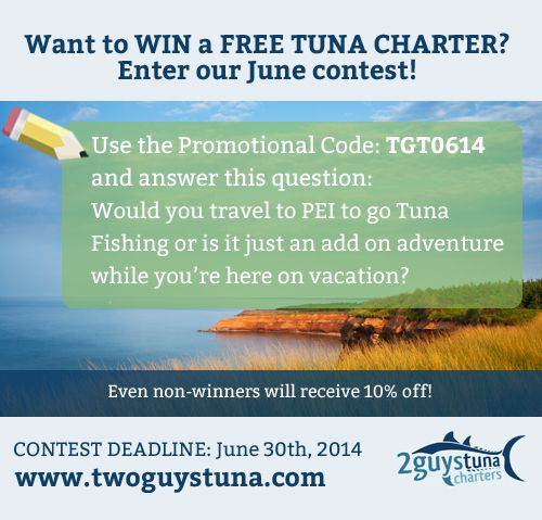 Do you want to win a FREE TUNA CHARTER?  Book a #tuna charter & you will either receive that tuna charter for FREE or receive a great #discount! There's a booking form on our website, once booked fill in the promo form then cross your fingers and wait. We will be drawing at the end of the month, stay tuned! #twoguystuna #PEIvacation  1 (902) 940-3698 or 1 (902) 969-2124 www.twoguystuna.com