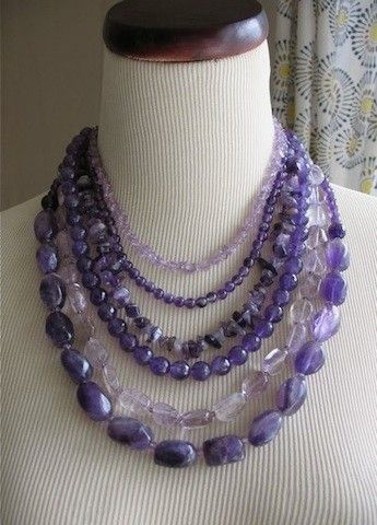 Chunky Lavender Necklace | Amethyst Purple Statement necklace Chunky Layered Beads Stones Multi ...
