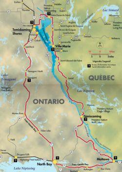 Lake Temiskaming Tour map - Carte du tour du lac Témiscamingue