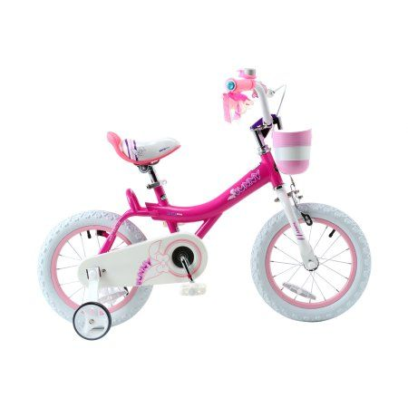 RoyalBaby Bunny Girl's Bike, 12 inch Wheels with Basket and Training Wheels, Fuchsia, Pink