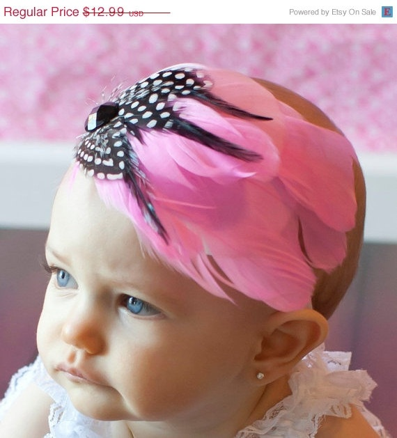 Easter Sale 15 OFF  Baby Headband  Pink Feather by Blissfullbaby
