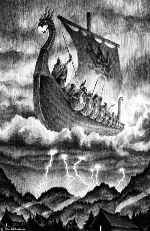 A Viking ship being lifted to Valhalla, where those who have died heroically feast and drink in Odin's great hall until the end of the world.
