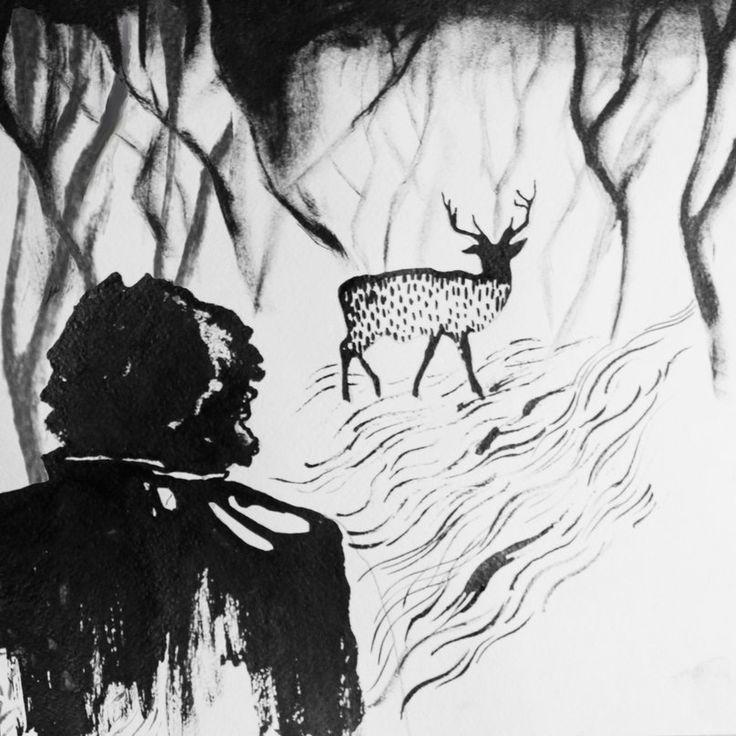 Фигура- капли туши, растянутые мастихином. Трава нарисована при помощи колапена. Деревья- сухая кисть. Олень нарисован графитным карандашом опущенным в тушь.
