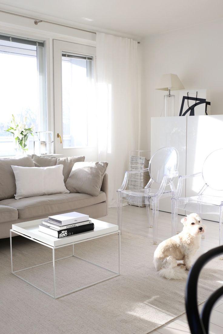 Homevialaura   living room   white linen curtains   Mixrack   Showroom Finland   Tapio Anttila   Hay Tray Table