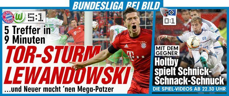 Lewandowski: fastest Hattrick in the Bundesliga history: 51.+52.+55., then also 57.+60. s.t. from 0:1 it became 5:1, Wahnsinn! 5 goals in 9 min.: record+awesome+I knew it that Lewandowski very good..in the past I complained s. t. he was allowed to move to FC Bayern wink emoticon https://www.youtube.com/watch?v=F-wsNOXM5ik http://www.bild.de/bundesliga/1-liga/saison-2015-2016/spielbericht-fc-bayern-muenchen-gegen-vfl-wolfsburg-am-6-Spieltag-41730618.bild.html