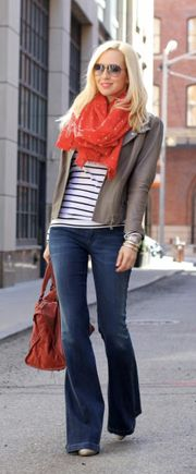 Business casual work outfit: grey blazer, stripes, trouser jeans w/ pop of color in scarf. Casual Friday.