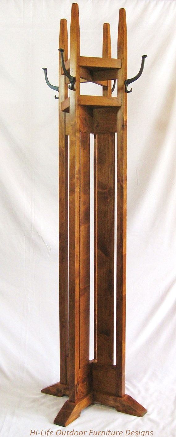 Arts and crafts hall tree - Sold Handmade Coat Tree With Shelves Alder Wood 4 Cast Iron Hook