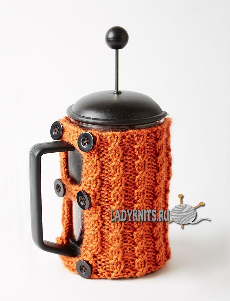 Вязаные спицами чехол-грелка для заварника и чашки