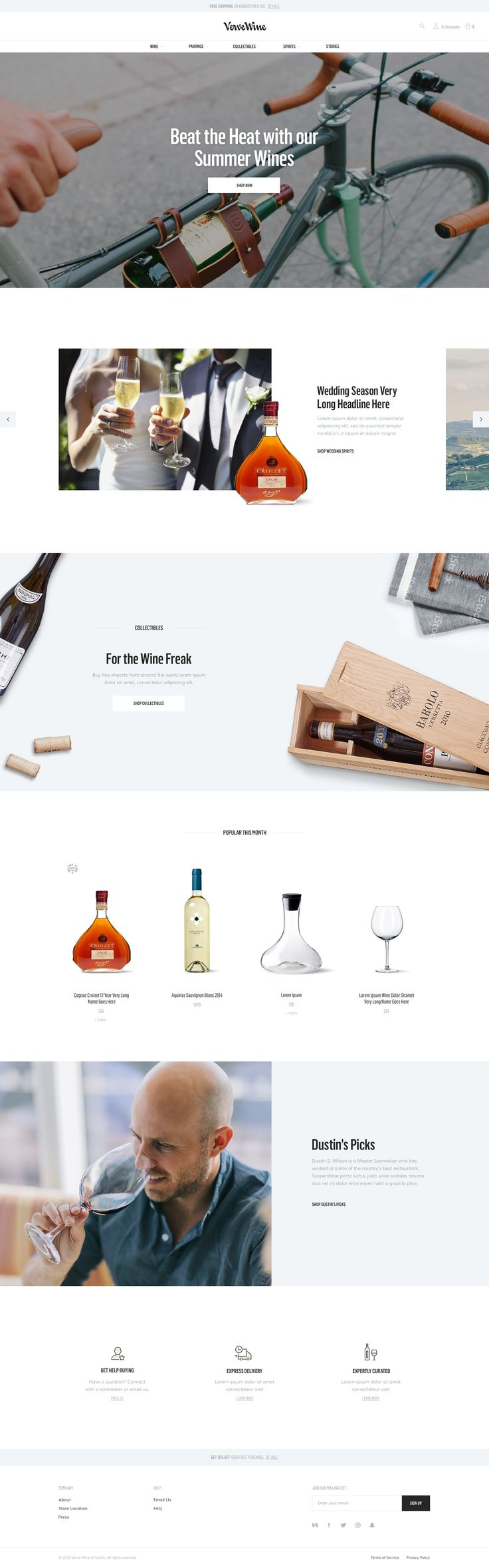 Verve Wine – Ui design concept for e-commerce #rwd website, by UENO.