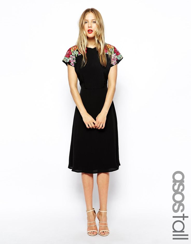 Image 1 ofASOS TALL Midi Skater Dress with Embroidered Shoulder Detail