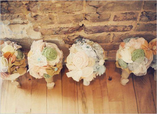 fabric boquets: Fabric Bouquets A, Fabric Flower Bouquets, Fabric Bouquets Love, Anthropologie Wedding, Fabric Flowers, Wedding Ideas, Cloth Flower, Fabrics, Felt Fabric Bouquets