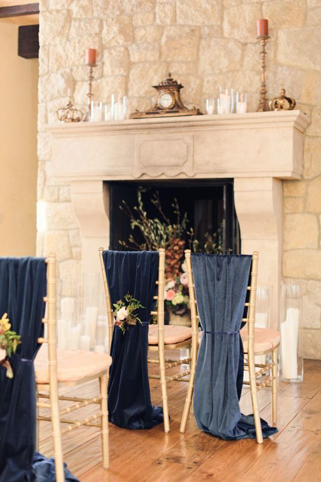 La Tavola Fine Linen Rental: Velvet Navy Table Runners (used as chair backs) | Photography: Benjamin Edwards Photography, Design & Coordination: Mint Event Coordination & Design, Florals: Mint Floral, Calligraphy: Shari Denfeld and Chalked Hand Lettered