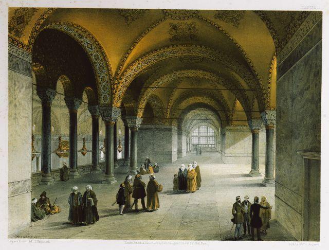 Αγία Σοφία Κωνσταντινούπολης: Άποψη του δυτικού τμήματος του υπερώου, όπου υπήρχε και ο θρόνος του βυζαντινού αυτοκράτορα. - FOSSATI, Gaspard - ME TO BΛΕΜΜΑ ΤΩΝ ΠΕΡΙΗΓΗΤΩΝ - Τόποι - Μνημεία - Άνθρωποι - Νοτιοανατολική Ευρώπη - Ανατολική Μεσόγειος - Ελλάδα - Μικρά Ασία - Νότιος Ιταλία, 15ος - 20ός αιώνας