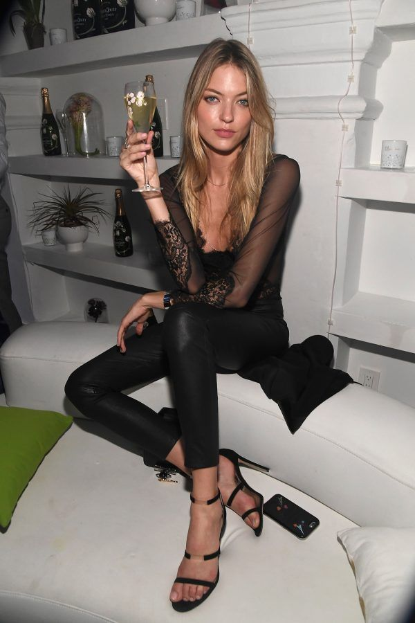 - Fresh off her Victoria's Secret fashion show, model Martha Hunt opted for leather and lace at the Pierre Jouet party.