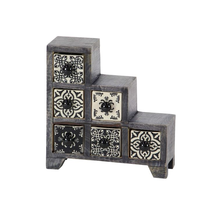 Studio 350 Traditional Staircase Latticed 6-Drawer Ceramic Jewelry Box