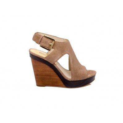 MICHAEL KORS - Wedge sandal in suede kaki - Elsa-boutique.it
