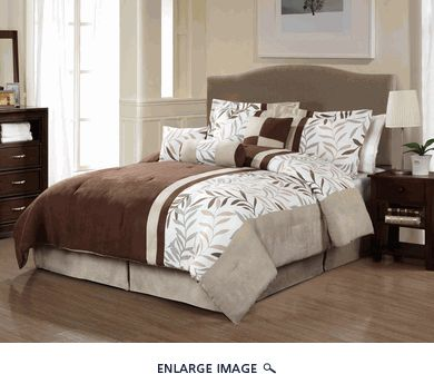 11 piece queen adrian microsuede foliage bed in a bag set - Queen Bed Comforter Sets