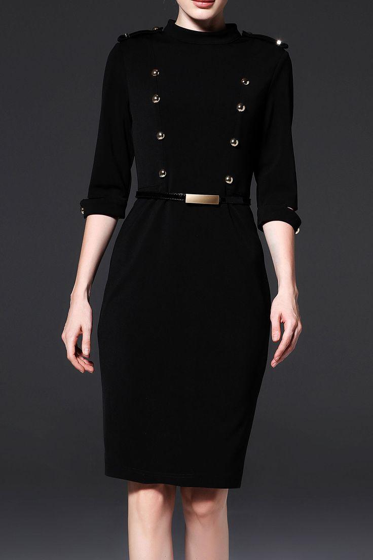 Knee Length Military Dress #dress #dresses