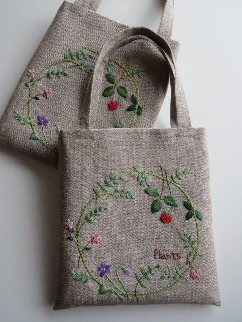 刺繡のミニバッグ(plants)画像1
