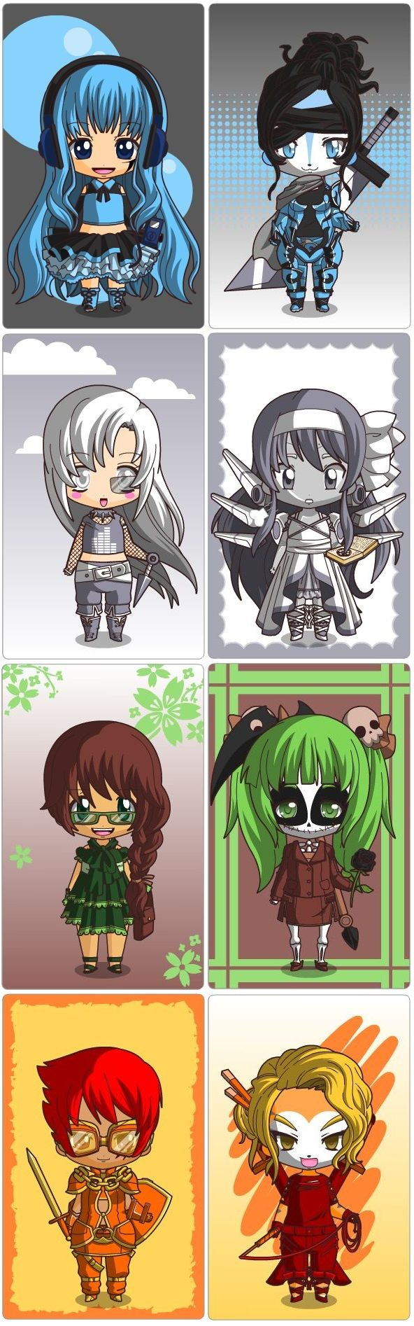 An awesome-sauce chibi doll-maker!  Whoohoo!  Going elementally, from up to down: water counterparts, air counterparts, earth counterparts, and fire counterparts.  :D