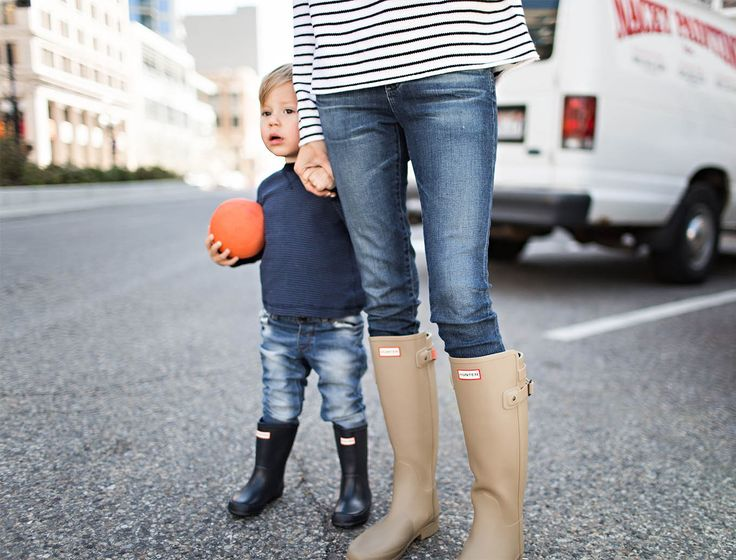mom and kid hunter boots