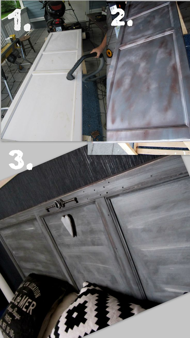 Ikea hack - closet door become headboard - using silver and copper coloured spray paint, normal furniture paint ( different tinge of gray colors )- lots of grinding between - silver glitter powder mixed with paint - and finally 2 old iron keys and the wood heart