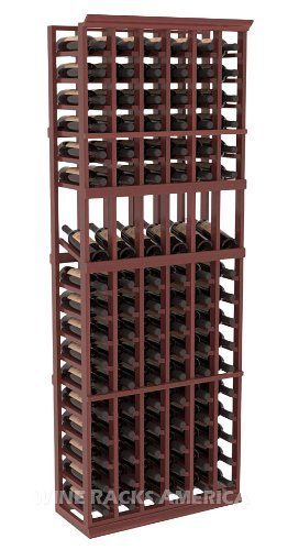 Five Star Series: 6 Column 102 Bottle Display Wine Cellar Rack in Redwood with Cherry Stain +Satin Finish by Wine Racks America®. $552.54. Choose From either Pine, Redwood, or Mahogany along with optional Industry Leading Quality Eco-Friendly Stains Paired with an Immaculate Satin Finish. Each have custom finishes and are professionally stained to order, so please allow a few additional days after your purchase for your order to be shipped.. Bottle capacity: 102 b...
