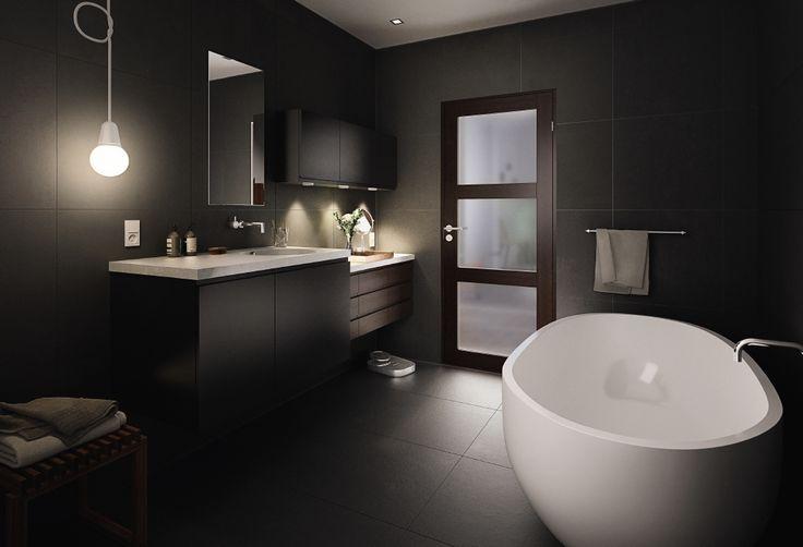 Behov for naturligt lys ind på badeværelset - eller ud på gangen?  Med frosted glas sikres privatlivet, her med Unique GW03L i sort eg