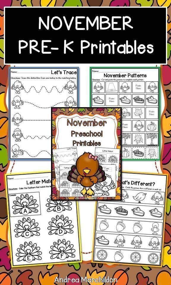 November Preschool Morning Work   Preschool (Pre-K